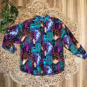 Vintage 90s Button up blouse colorful fun print